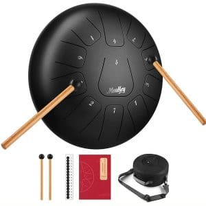 Moukey Steel Tongue Drum 11 Notes 10 Inches Pan Drum Percussion Steel Drum Instrument Tank Drum with Drumsticks, Tone Sticker, Music Book and Padded Travel Bag