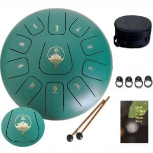Ailla Steel Tongue Drum, C Key 11 Notes 12 Inch Hand Drum, Percussion Instrument Tankdrum with Mallets Bag Set for Meditation Yoga Sound Healing