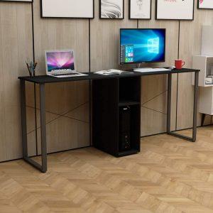 DlandHome Double Computer Desk 78 Inches Walnut Black