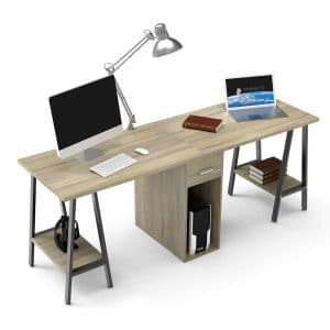 DEWEL 2 Person Double Computer Desk 78 Inches