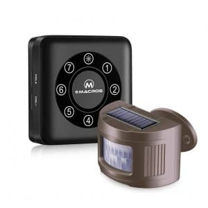 EMACROS Pairable Solar Wireless Driveway Outdoor Motion Sensor