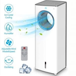 Evaporative Air Cooler - 2-in-1 Portable Air Cooling Fan, Instant Cool & Humidify with 3 Speeds, No Noise Tower Fan, No Dust, 3 Modes, 90°Oscillation, 8H Timer, Bladeless Fan