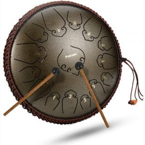 14 Inch 15 Note Steel Tongue Drum Percussion Instrument Lotus Hand Pan Drum with Ultra Wide Range and Drum Mallets Carry Bag