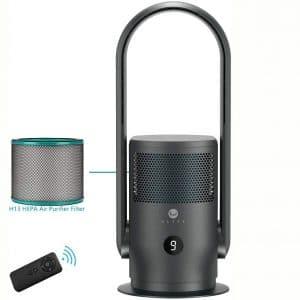 ULTTY Bladeless Fan Air Purifier - with True HEPA Filter | Desk Fan & Standing Fan with Remote Control, Oscillating, Timer | R21 Black