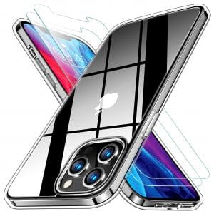 RANVOO Clear Case Compatible iPhone 12 Pro Max Case with 2 Screen Protectors