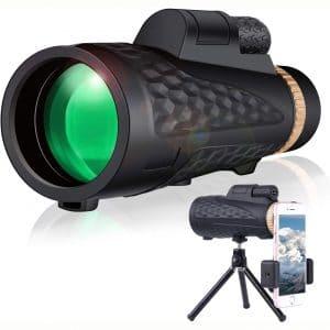 Monocular Telescope for Smartphone Adults - GENASTO HD Monocular with Phone Holder & Tripod, Upgrade Dual Focus 12~16x60 BAK4 Waterproof Low Night Vision Telescope