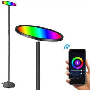 Floor Lamp, HueLiv Super Bright RGBW Smart WiFi LED Floor Lamp for Reading, Dimmable Torchiere, for Living Rooms Bedrooms