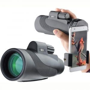 Gosky Titan 12X50 High Power Prism Monocular and Quick Smartphone Holder - Waterproof Fog- Proof Shockproof Scope -BAK4 Prism FMC