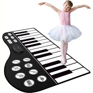 "M SANMERSEN Piano Mat, 71"" Piano Keyboard Mat 24 Keys Piano Play Mat with Record, Input, Playback Function Electronic Dance Mats Best Gift"
