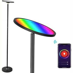BRIMAX Floor Lamp Works with Alexa Google Home, 2000LM:25W Super Bright RGBW Smart WiFi LED Floor Lamp, Dimmable Color Changing Torchiere Standing Lamp