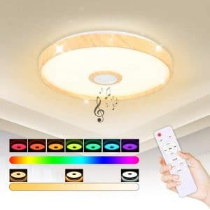 IYUNXI LED Starlight Music Ceiling Light with Bluetooth Speaker 36W Dimmable Color Changing via Bluetooth Remote Control Ceiling Lights