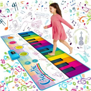 SUNLIN Giant Floor Piano Mat, 24 Keys Keyboard Play Mat, Jumbo Size Musical Instrument Toys Gift for Boys Girls Kids Toddlers (71x29inch)
