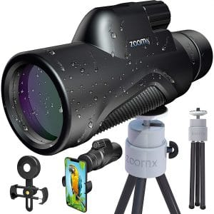 Stellax, ZoomX Monocular Compact Upgraded 2020 Waterproof:Fogproof - BAK4 Prism, FMC Lenses Covering with Tripod and Smartphone Adapter