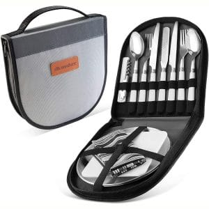 Camping Silverware Kit Cutlery Organizer Utensil Picnic Set - 12 Piece Mess Kit for 2 - Stainless Steel Plate Spoon Butter and Serrated Knife Wine Opener