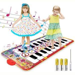 Kids Musical Mat, 20 Keys Double-Keyboard Musical Piano Mat with 3AA Batteries and Screwdriver 8 Instruments Sounds, Dance Floor Mat