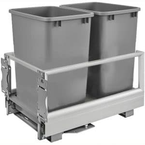 Rev-A-Shelf 5149-18DM-217 22 x 14 x 19.5 Inch Double 35 Quart Pull Out Kitchen Cabinet Waste Container Storage with Trash Can, Wire Basket