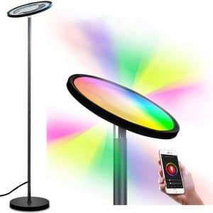 Smart Floor Lamp,BRTLX RGBW Dimmable LED Reading Standing Lamp with Touch:Voice Control, Mutli-Color Changing, Compatible with Smart Phone APP Amazon Alexa Google