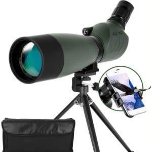 ESSLNB Spotting Scope with Tripod Phone Adapter 25-75 X 70 BAK4 Monocular Telescope 45 Degree Angled Waterproof Compact Spotting Scopes