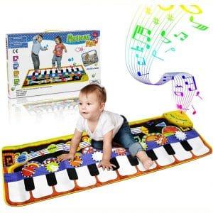 RenFox Kids Musical Mats, Music Piano Keyboard Dance Floor Mat Carpet Animal Blanket Touch Playmat Early Education Toys