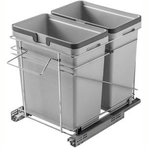 Rok Salice Kitchen Cabinet Soft Close Heavy Duty Frameless Waste Recycle Bin Trash Can Pull Out Organizer Container QPAM15228C