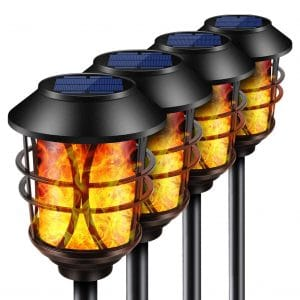 TomCare 4 Pack Flickering Flame Solars