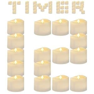 AMAGIC Flameless 12 Pack Tea Lights Battery Operated TeaLight Candles with Timer