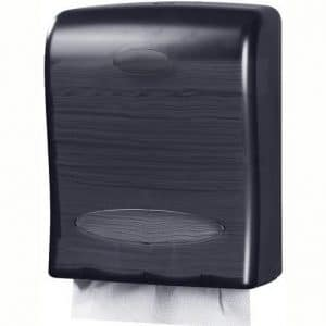 Touchless Paper Towel Dispenser by Oasis Creations - Wall Mount - Hold 500 Multifold Paper Towels - Black Smoke