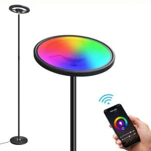 ZEEFO Floor Lamp, 25W:1300LM Energy Saving Super Bright LED Torchiere Modern Standing Lamp, Dimmable Touch Control 2700K-6500K Brightness Smart WiFi LED