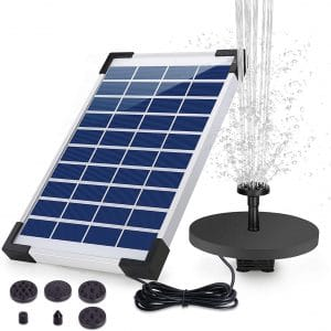 HEYSTOP 5W Garden Solar Water Fountain Pump with built-in Battery and 6 Nozzles