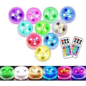 MOONBROOK Small Submersible Mini Waterproof Tea Lights Candles LED Lights-10PACK