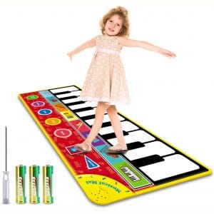 Magicfun Kids Musical Mat, Musical Piano Mat 8 Instrument Sounds 5 Play Modes with 3 AA Batteries and 1 Screwdriver Dance and Learn Mat