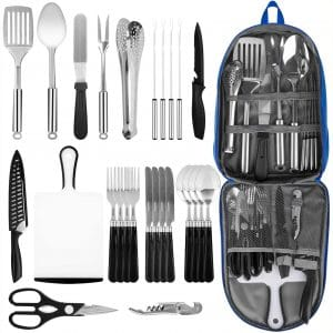 Portable Camping Kitchen Utensil Set, 27-Piece Stainless Steel Outdoor Cooking and Grilling Utensil Organizer Travel Set Perfect