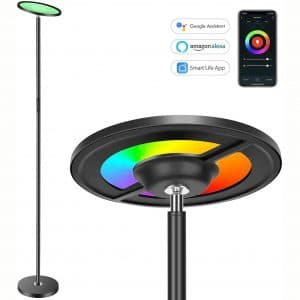 Torkase 66 in. Smart Sky LED Torchiere Floor Lamp Works with Alexa Google Home, Dimmable Color Changing, 2000LM Super Bright, App & Touch Control