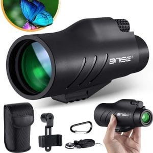 BNISE 10x50 Monocular for Adults Hunting Telescope Handy Waterproof HD with Phone Mount Holder Case Strap