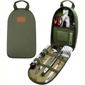 Gold Armour Camp Kitchen Utensil Organizer Travel Set Portable BBQ Camping Cookware Stainless Steel Utensils Travel Kit Outdoor Equipment Cutting Board