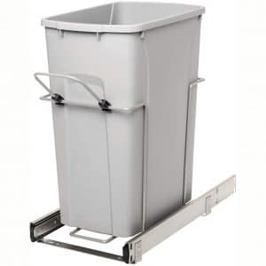 Knape & Vogt RS-PSW10-1-29-R-P in-Cabinet, 18.80 9.3 19-Inch Pull Out Trash Can, Platinum