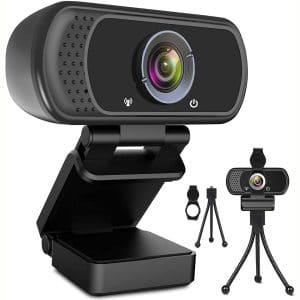 Webcam HD 1080p Web Camera, USB PC Computer Webcam with Microphone, Laptop Desktop Full HD Camera Video Webcam 110 Degree Widescreen, Pro Streaming Webcam