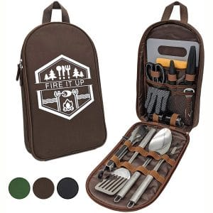 13 PC Grilling and Camping Cooking Set for The Outdoors BBQ - Stainless Steel Camp Kitchen Equipment Cookware Grill Tool Camping Accessories Kit