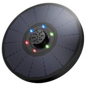 OKMEE Solar Fountain Pump with 9V 2.6W Solar, 1200mAh Battery Backup and LED Lights for Bird Bath