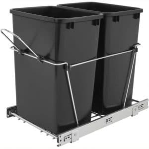 Rev A Shelf RV-18KD-18C S Double 35 Quart Sliding Pull Out Kitchen Cabinet Waste Bin Container