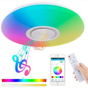 Upgrade 36W LED Ceiling Lights with Bluetooth Speaker Smartphone APP, Dimmable 15.7-inch Music RGBW Color Temperature Adjustable