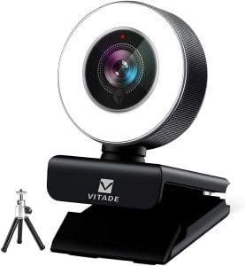 Webcam 1080P with Microphone & Ring Light, Vitade 960A Pro USB HD PC Web Camera Video Cam for Streaming Gaming Conferencing Mac Windows Desktop Computer