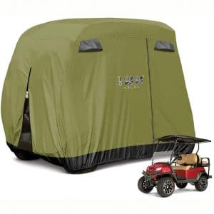 10L0L 4 Passenger Golf Cart Cover Fits EZGO, Club Car and Yamaha, 400D Waterproof with Extra PVC Coating Sunproof Dustproof - Two Side Zippers