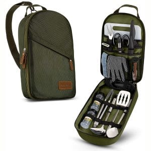 Camp Kitchen Cooking Utensil Set Travel Organizer Grill Accessories Portable Compact Gear for Backpacking BBQ Camping Hiking Travel Cookware Kit
