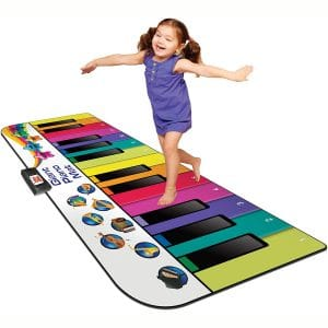 Kidzlane Floor Piano Mat for Kids and Toddlers - Giant 6 feet Piano Mat, 24 Keys – 10 Song Cards, Built in Songs, Record & Playback