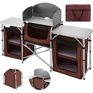 Happybuy Portable Table Multifunctional Windscreen Camping Table Easy-to-Clean Cooking Table