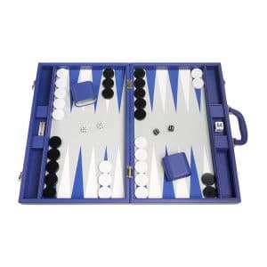 Silverman & Co. 19-inch Large Size Premium Backgammon Sets Blue Board