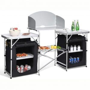 Giantex Folding Camp Table w: 2 Storage Organizer, Portable Aluminum Windscreen Cooking Table Easy-to-Clean