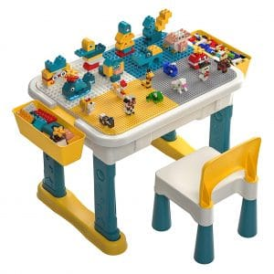 Kids 6-in-1 Multi-Activity Table with 381 Pieces Blocks
