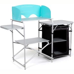 Laralinc Camp Table. Portable,Deluxe with Windscreen,Carrying Bag - Aluminum Camp Equipment, and Lightweight
